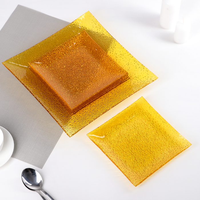Сервиз столовый 7 предметов: 1 тарелка 29,5х29,5 см, 6 тарелок 19,5х19,5 см, цвет жёлтый, подарочная упаковка