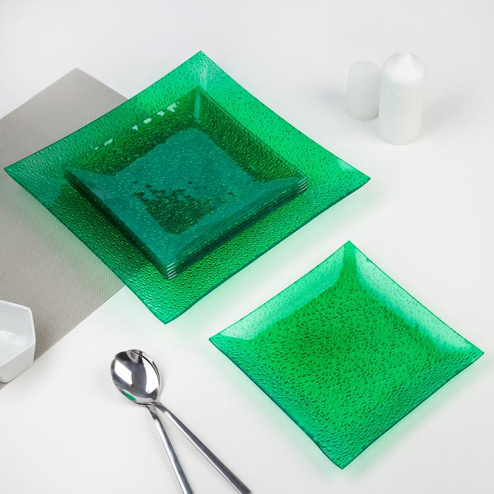 Сервиз столовый, 7 предметов: 1 тарелка 29,5х29,5 см, 6 тарелок 19,5х19,5 см, цвет зелёный, подарочная упаковка