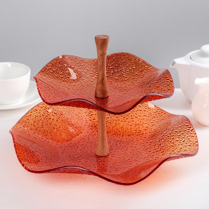 Этажерка 2-х ярусная 30×21 см, цвет оранжевый, подарочная упаковка, основание МИКС