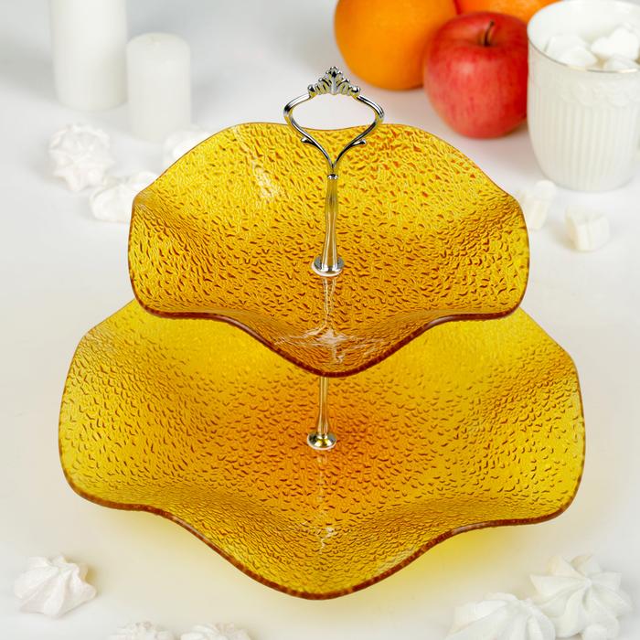 Этажерка 2-ярусная 30х21 см, цвет жёлтый, подарочная упаковка, основание МИКС