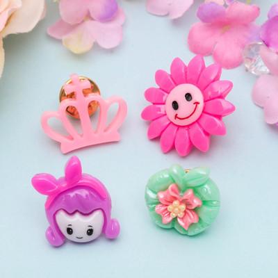 """Брошь детская """"Выбражулька"""" цветок-улыбка, (набор 4 шт), форма МИКС, цвет МИКС"""