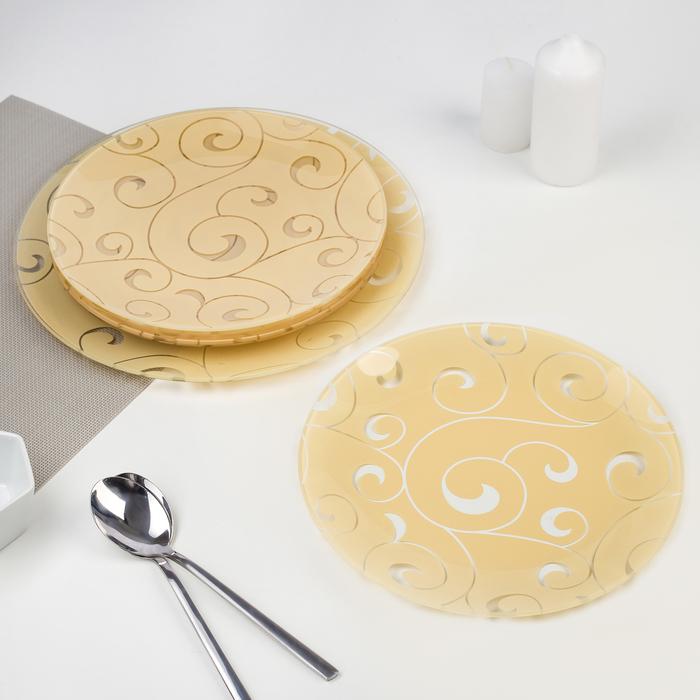 """Сервиз столовый """"Марокко"""", 7 предметов: 1 шт 32 см, 6 шт 18 см, цвет бежевый, подарочная упаковка"""