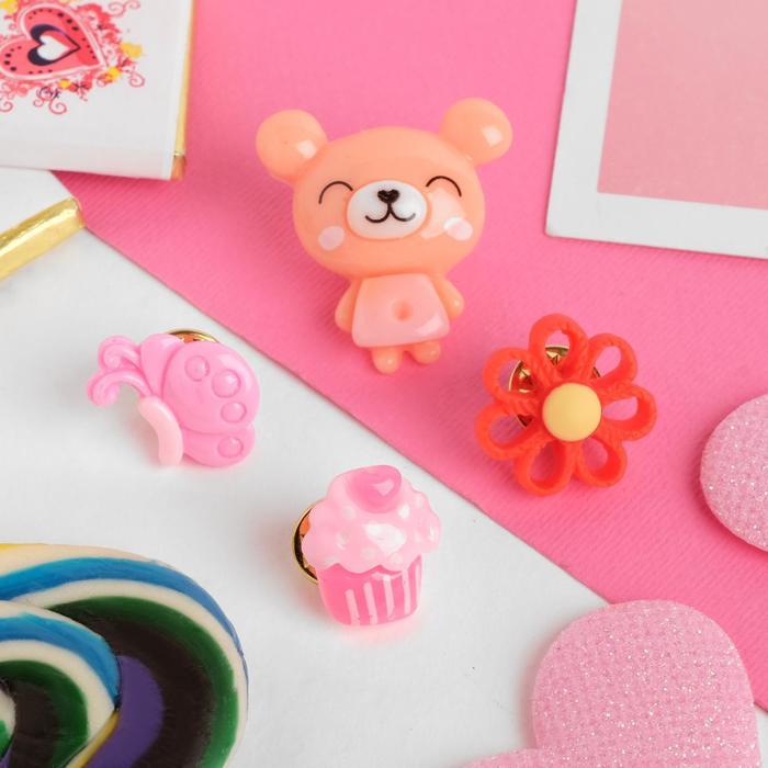 """Брошь детская """"Выбражулька"""" мишка радостный, (набор 4 шт), форма МИКС, цвет МИКС"""