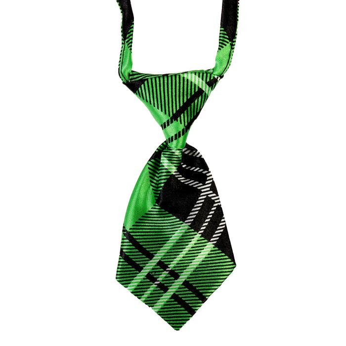 Галстук атласный 10 х 5 см, обхват шеи 28-50 см, клетка, зеленый