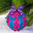 Новогодний ёлочный шар №3 с блестящей EVA, цвет розово-голубой