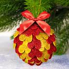 Новогодний ёлочный шар №4 с блестящей EVA, цвет красно-золотой