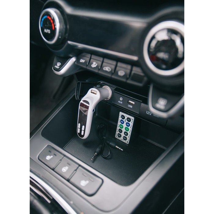 FM - трансмиттер, 12 В, USB/Mp3/WMA/AUX/MicroSD, белый