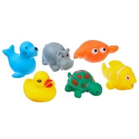 Набор резиновых игрушек для игры в ванной «Морские животные», 6 шт., МИКС