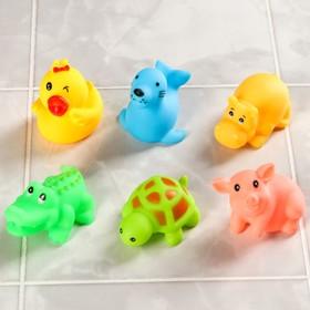 Набор игрушек для ванны «Морские животные №2», 6 шт., МИКС Ош
