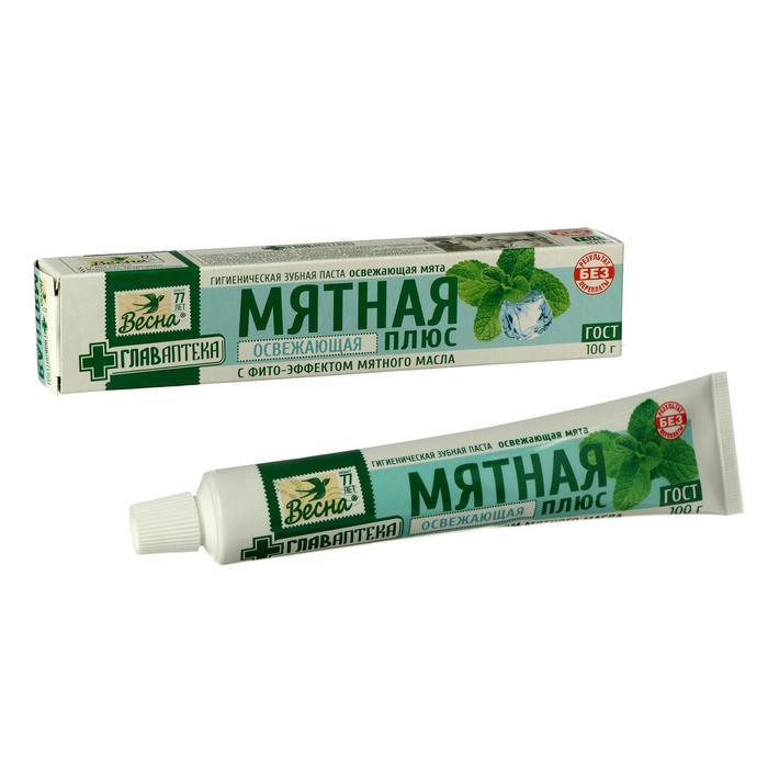Зубная паста «Мятная», освежающая мята, в упаковке, 100 г