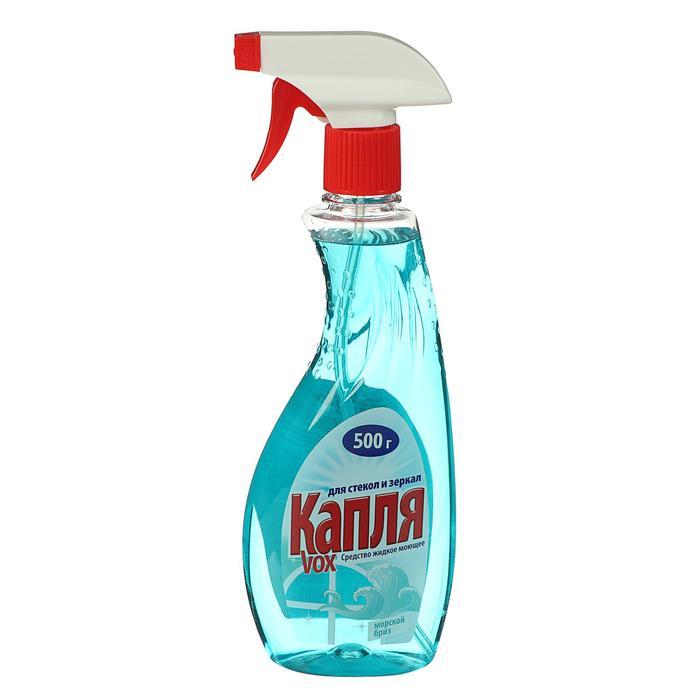 """Средство для мытья стекол/зеркал """"Капля VOX""""Морской бриз, 500мл"""