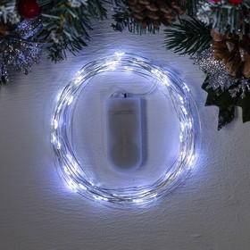 """Гирлянда """"Нить"""" 5 м роса, IP20, серебристая нить, 50 LED, свечение белое, фиксинг, 2 х CR2032"""