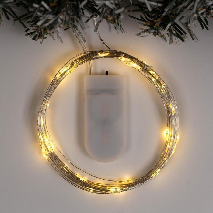 """Гирлянда """"Нить"""" 5 м роса, IP20, серебристая нить, 50 LED, свечение тёплое белое, фиксинг, 2 х CR2032"""