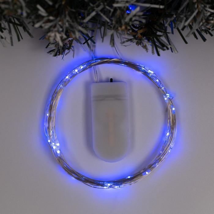 """Гирлянда """"Нить"""" 5 м роса, IP20, серебристая нить, 50 LED, свечение синее, фиксинг, 2 х CR2032"""