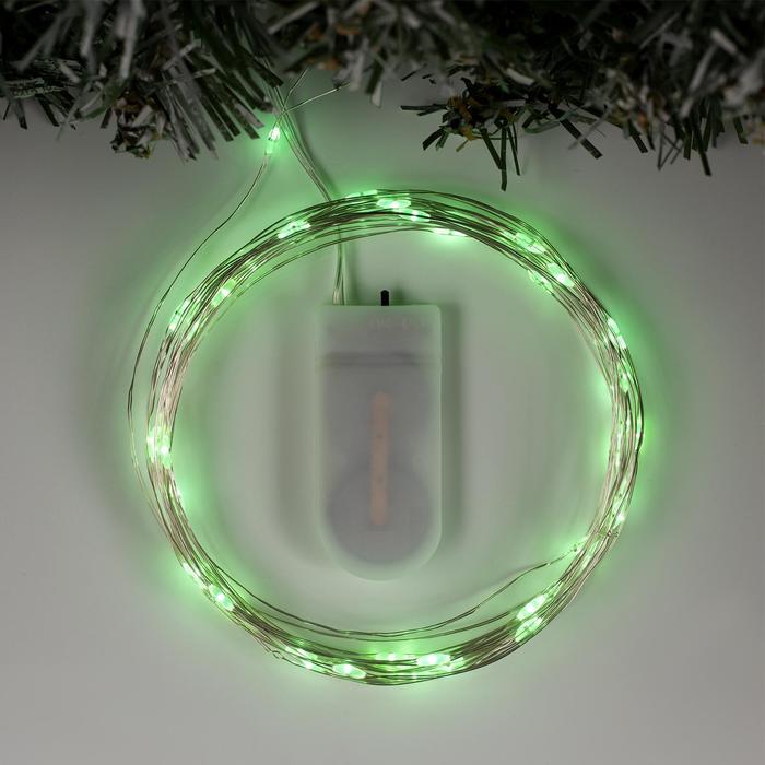 """Гирлянда """"Нить"""" 5 м роса, IP20, серебристая нить, 50 LED, свечение зелёное, фиксинг, 2 х CR2032"""