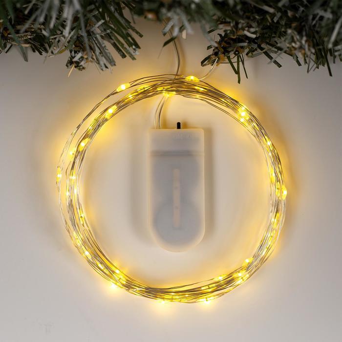 """Гирлянда """"Нить"""" 5 м роса, IP20, серебристая нить, 50 LED, свечение жёлтое, фиксинг, 2 х CR2032"""