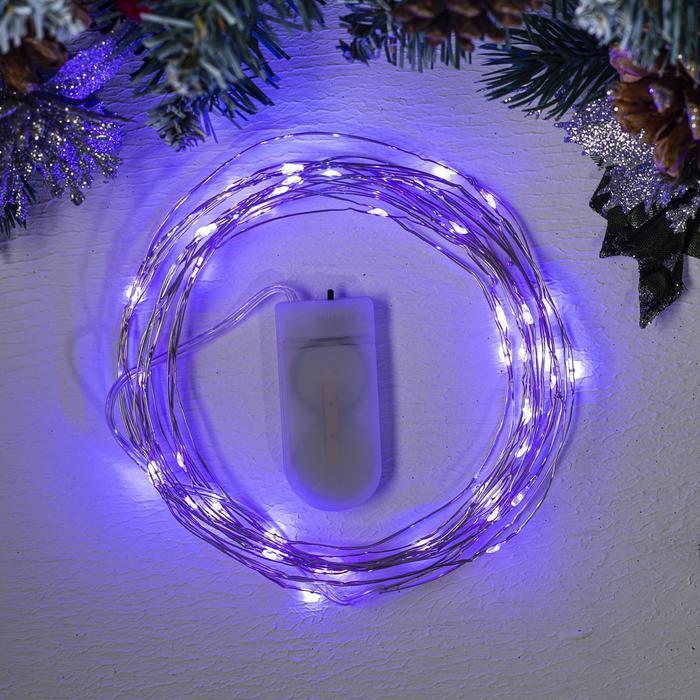 """Гирлянда """"Нить"""" 5 м роса, IP20, серебристая нить, 50 LED, свечение фиолетовое, фиксинг, 2 х CR2032"""