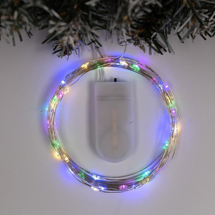 """Гирлянда """"Нить"""" 5 м роса, IP20, серебристая нить, 50 LED, свечение мульти, фиксинг, 2 х CR2032"""