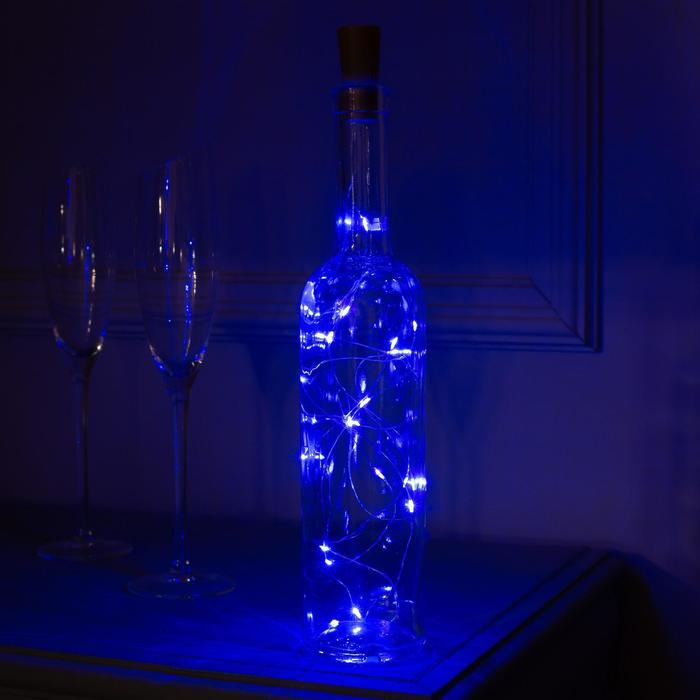 """Гирлянда """"Нить"""" 2 м роса с пробкой, IP20, серебристая нить, 20 LED, свечение синее, фиксинг, 3 х LR44"""