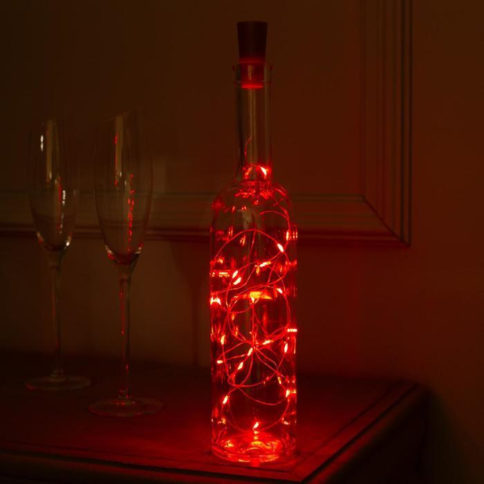 """Гирлянда """"Нить"""" 2 м роса с пробкой, IP20, серебристая нить, 20 LED, свечение красное, фиксинг, 3 х LR44"""