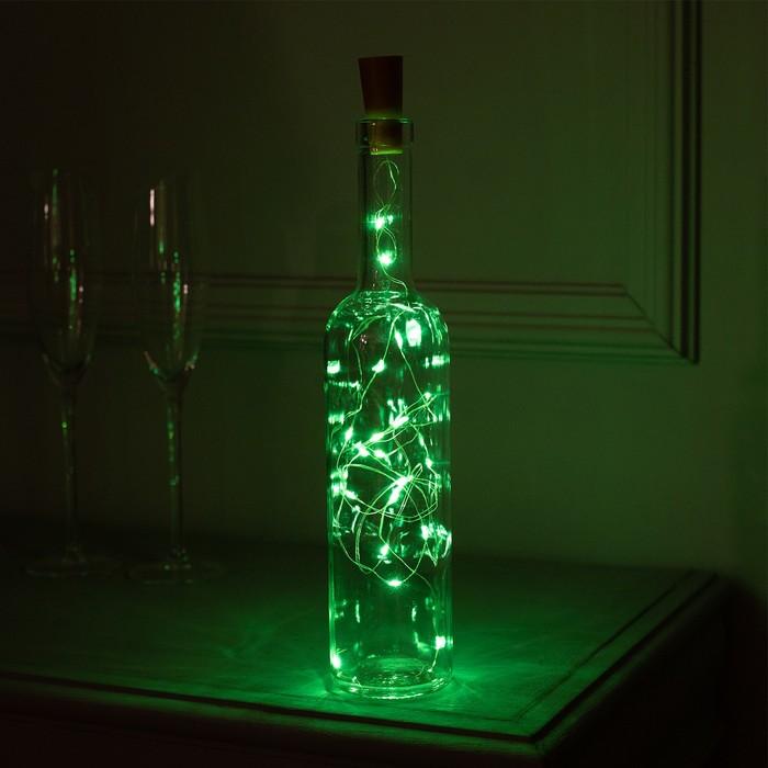 """Гирлянда """"Нить"""" 2 м роса с пробкой, IP20, серебристая нить, 20 LED, свечение зелёное, фиксинг, 3 х LR44"""