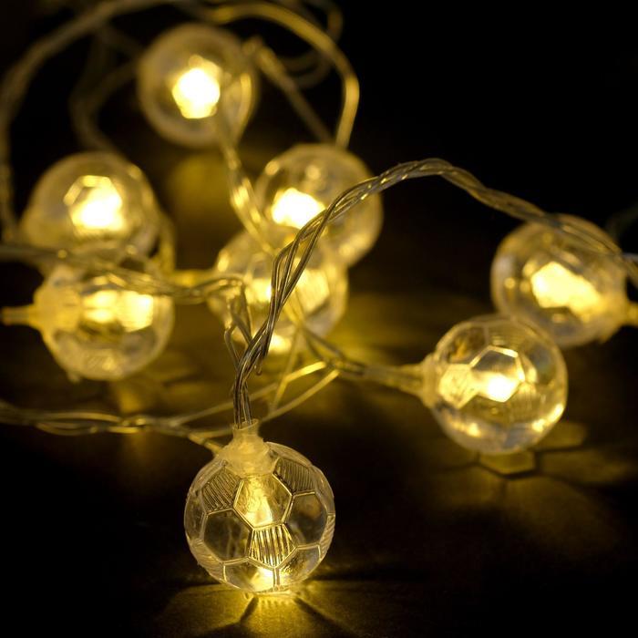 """Гирлянда """"Нить"""" 5 м с насадками """"Футбольный мяч"""", IP20, прозрачная нить, 30 LED, свечение тёплое белое, 8 режимов, 220 В - фото 725197150"""