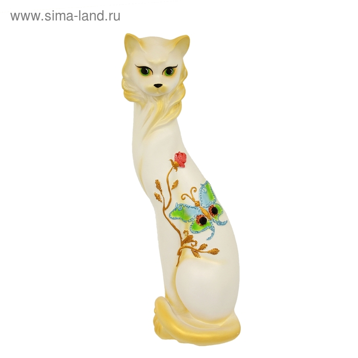 "Сувенир ""Кошка Маркиза"" Бабочка белая с золотом"
