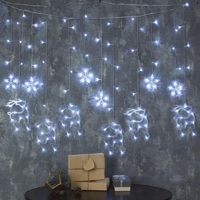"""Гирлянда """"Бахрома"""" 2.4 х 0.9 м с насадками """"Олень"""", IP20, прозрачная нить, 138 LED, свечение белое, 8 режимов, 220 В"""