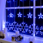 """Гирлянда """"Бахрома"""", 2.4 х 0.9 м, """"Снежинки"""", LED-150-220V, 8 режимов, нить прозрачная, свечение синее"""