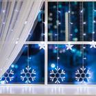 """Гирлянда """"Бахрома"""", 2.4 х 0.9 м, """"Снежинки"""", LED-150-220V, 8 режимов, нить прозрачная, свечение белое"""