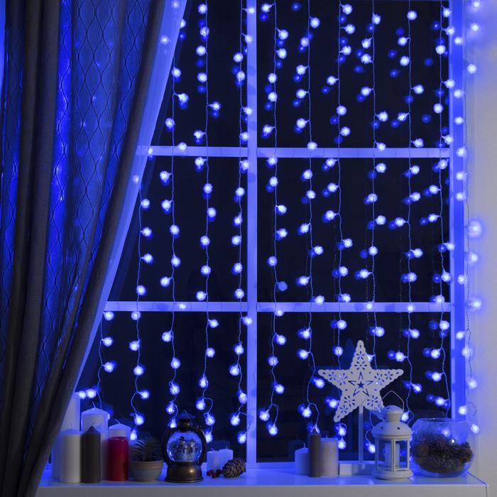 """Гирлянда """"Занавес"""" 2 х 1.5 м с насадками """"Ёжики"""", IP20, прозрачная нить, 360 LED, свечение синее, 8 режимов, 220 В"""