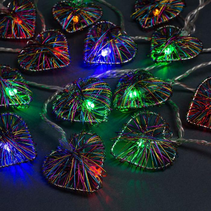 """Гирлянда """"Нить"""" 4 м с насадками """"Сердце проволока"""", IP20, прозрачная нить, 20 LED, свечение мульти, 8 режимов, 220 В"""