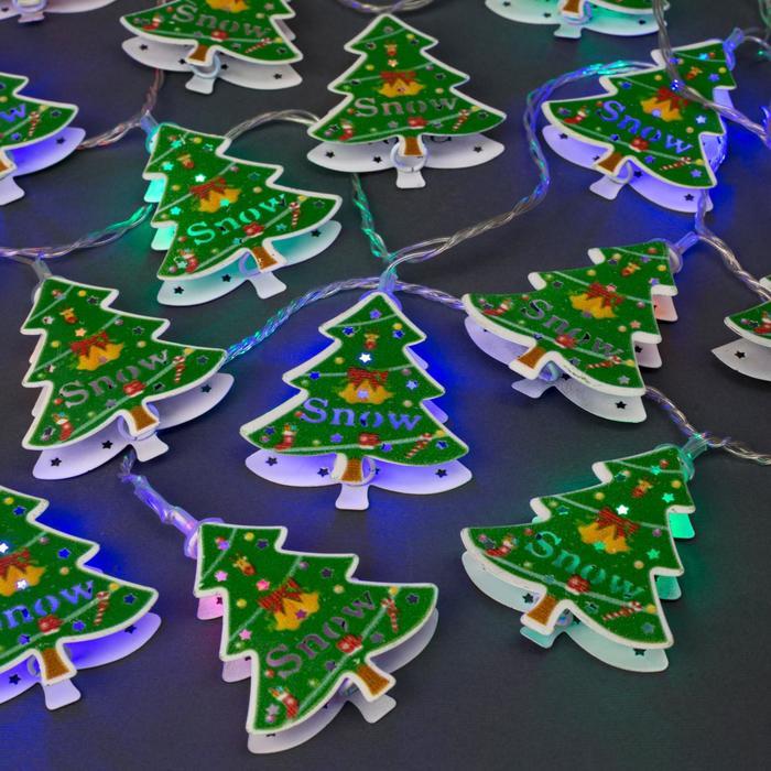 """Гирлянда """"Нить"""" 4 м с насадками """"Ёлка зелёная"""", IP20, прозрачная нить, 20 LED, свечение мульти, 8 режимов, 220 В"""