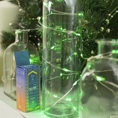 """Гирлянда """"Нить"""", 3 м, """"Роса"""", LED-30-6V, (LR2032 2 шт.в комплекте), 1 режим, нить прозрачная, свечение зелёное"""