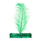 Повязка на голову с пером, цвет зеленый