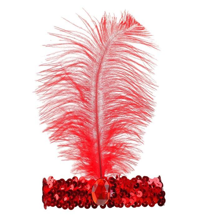 Повязка на голову с пером, цвет красный