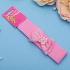 """Повязка для волос """"Модница"""" 3 см, розовая, банты со цветком"""