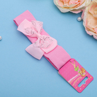 """Повязка для волос """"Модница"""" 3 см, розовая, прозрачный бант"""