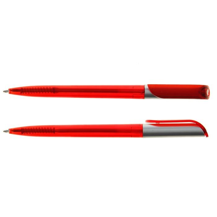 Ручка шариковая поворотная, корпус тонированный красный с серебристой вставкой, стержень синий 0,5 мм