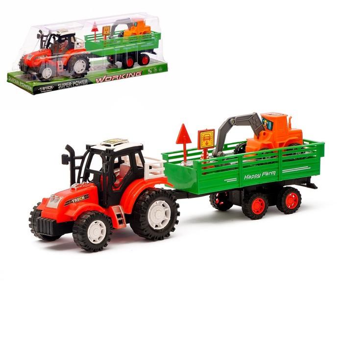 Трактор инерционный «Фермер», с прицепом, цвета МИКС