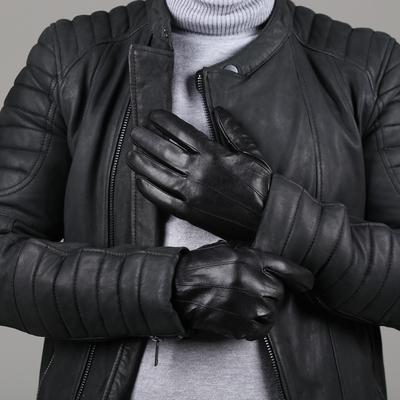 Перчатки мужские, размер 12, фигурные строчки, подклад шерсть, цвет чёрный