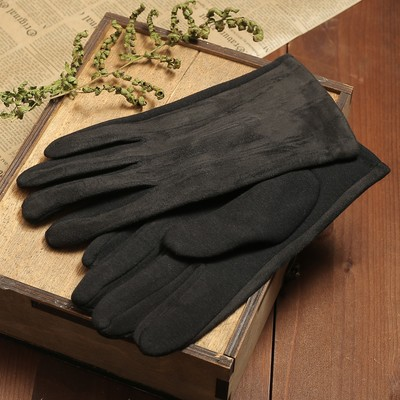 Перчатки мужские, размер 11, гладкие, подклад флис, цвет чёрный