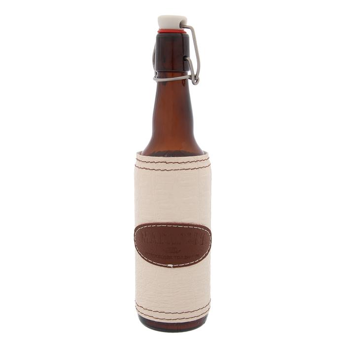 "Бутылка 500 мл ""Магарыч"", бугельный замок, кожа/экокожа, чехол"