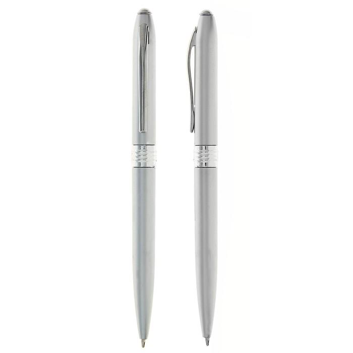 Ручка шариковая поворотная Лого, корпус Металлик серебристый