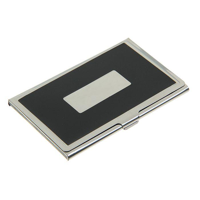 Визитница с металлическим окном, цвет черный