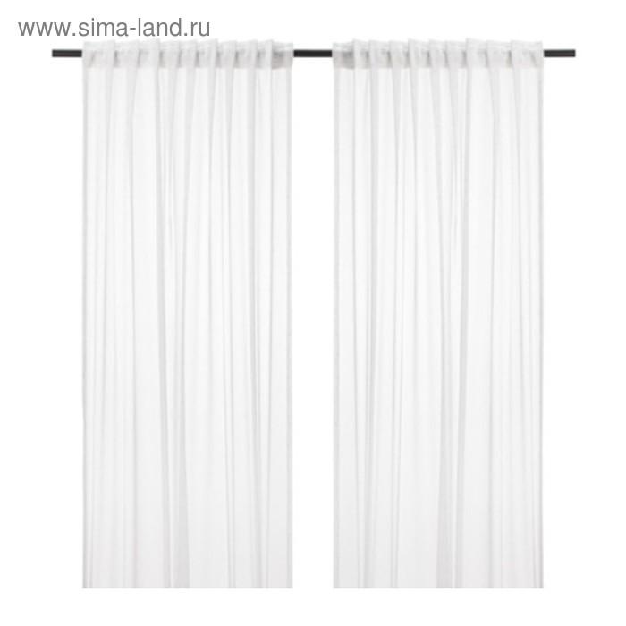 Гардины ЭММИЛИНА, размер 145х300 см-2 шт., цвет белый/цветы