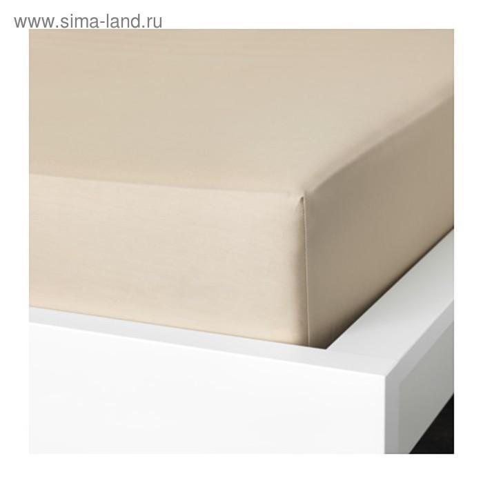 Простыня на резинке НАТТЭСМИН, размер 160х200 см, цвет бежевый