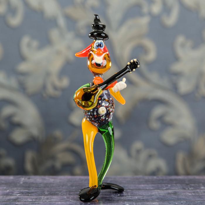"""Сувенир из стекла """"Клоун с гитарой"""", 6 х 7 х 18 см"""