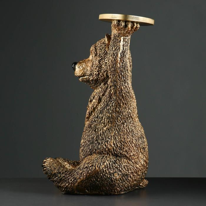 """Фигура """"Медведь с полкой"""" большой бронза 64см"""