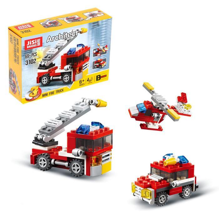 Конструктор «Пожарный транспорт», 3 варианта сборки, 69 деталей